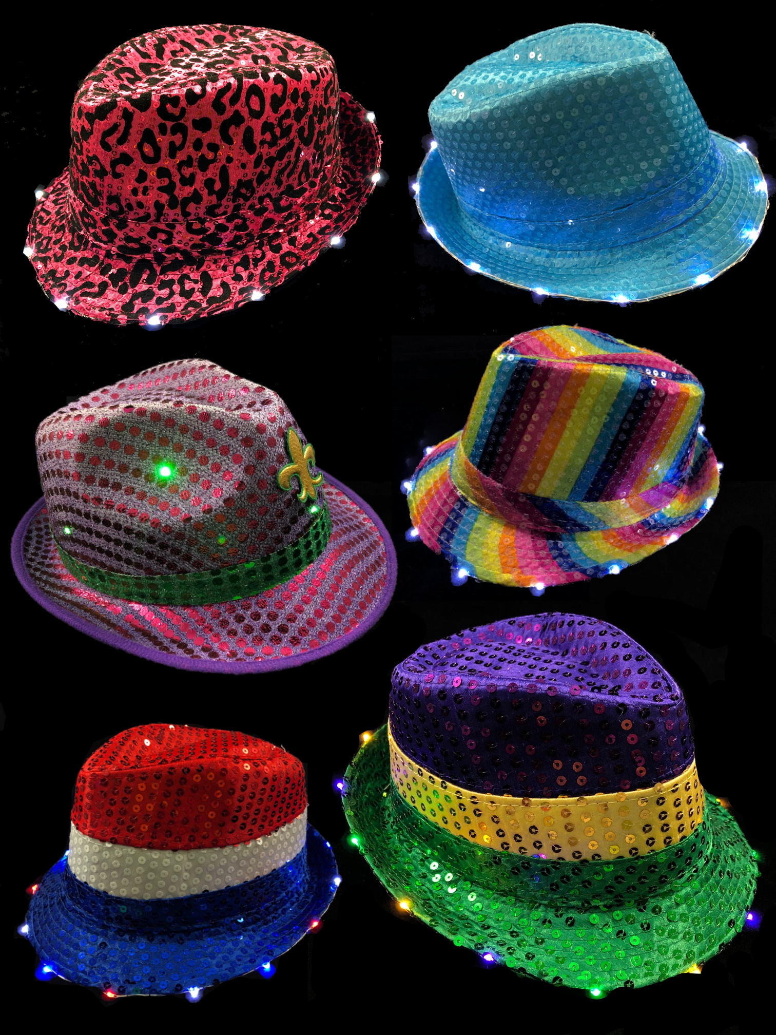 Flashing / LED Hats & Fedoras